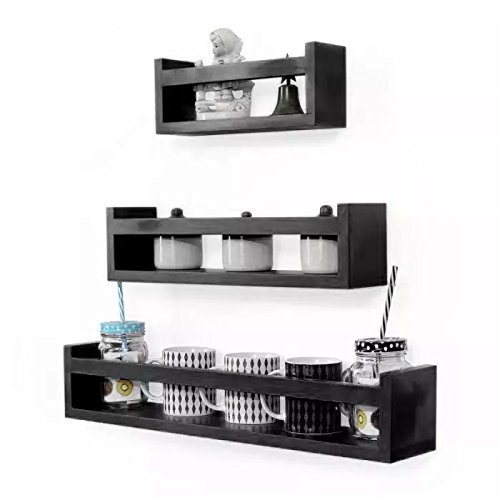 Leasa wall shelf for kitchen  of 3 Floating Wall Shelves (Black)