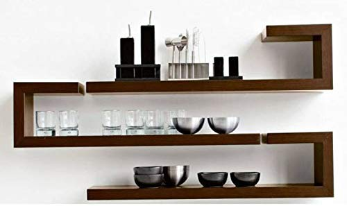 Bukanai  Wall Shelf Set Product Size_Length 27, Height 16.5, Width 5 (inches) (Number of Shelves - 3, Brown)