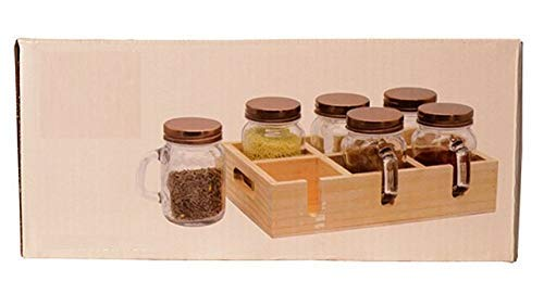 Abldok Kitchen Spice Rack Masala Glass Dispenser Wooden Holder