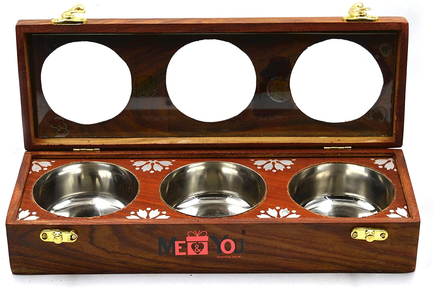 Sheesham Wooden Multipurpose Dry Fruits and Spice Box, Kitchen Container Box 3 Slot
