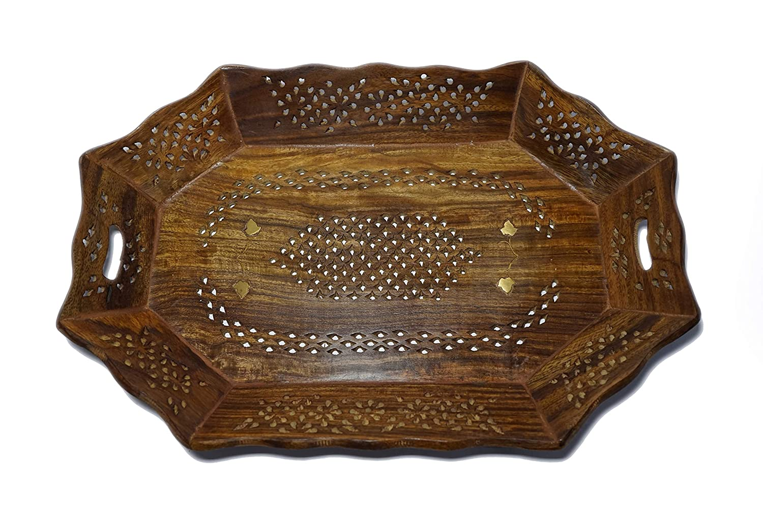 Yeski Serving Tray (Tea, Coffee, Snacks, Water) Decorative Tray/Platter for Home/Kitchen/Table Decor