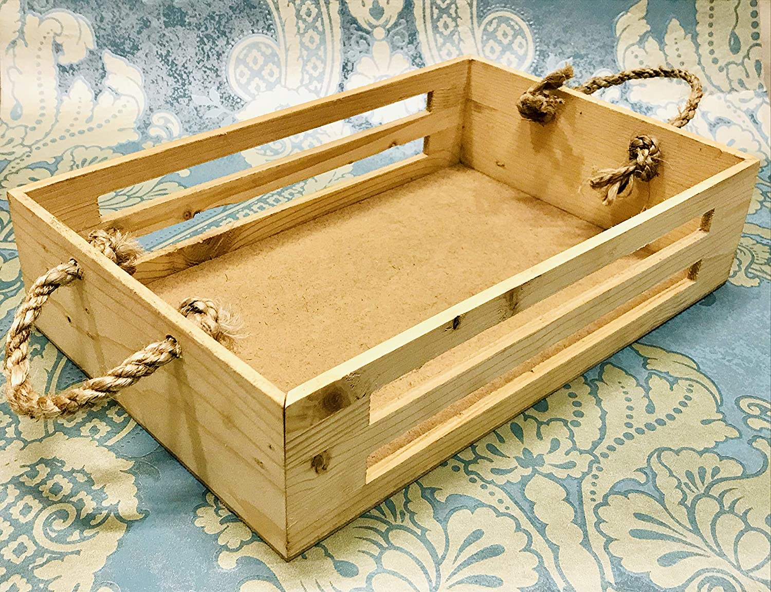 Kesep  Rectangle Pinewood Tray with Rope