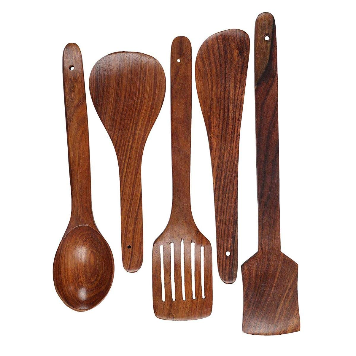 Bekhi Sheesham wood Non-Stick Serving and Cooking Spoon Spatulla Kitchen Tools Utensil, Set of 5
