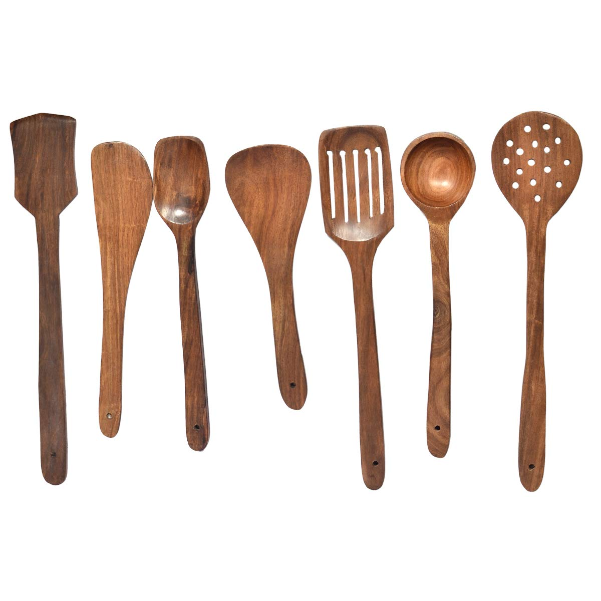 Ekapes Serving and Cooking Spoon Set & Ladles Wooden Spoon Brown Kitchen Tool Set with a Holding Jar