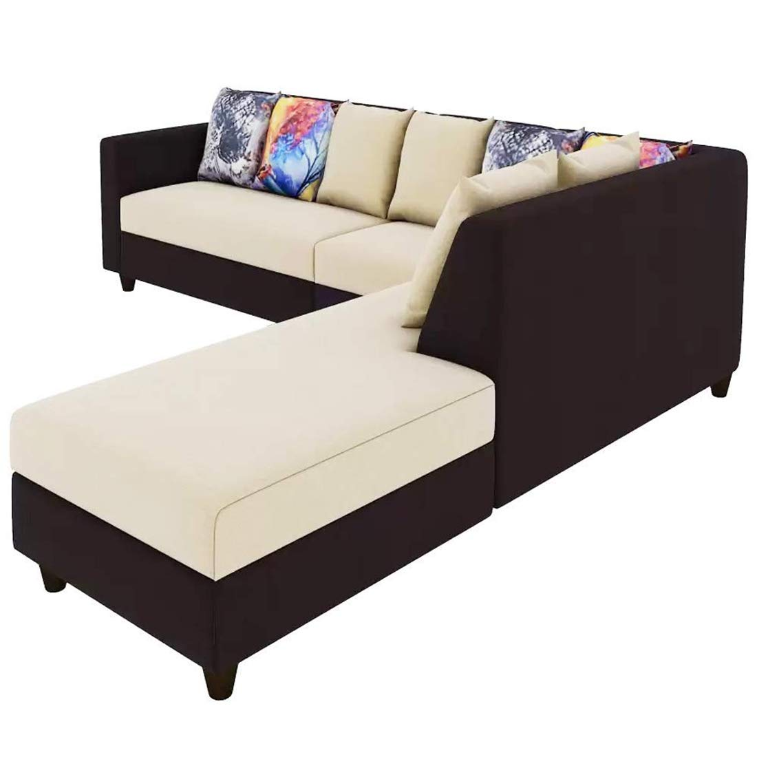 Famget l shape sofa extra large 6 Seater Sofa (Cream-Brown)