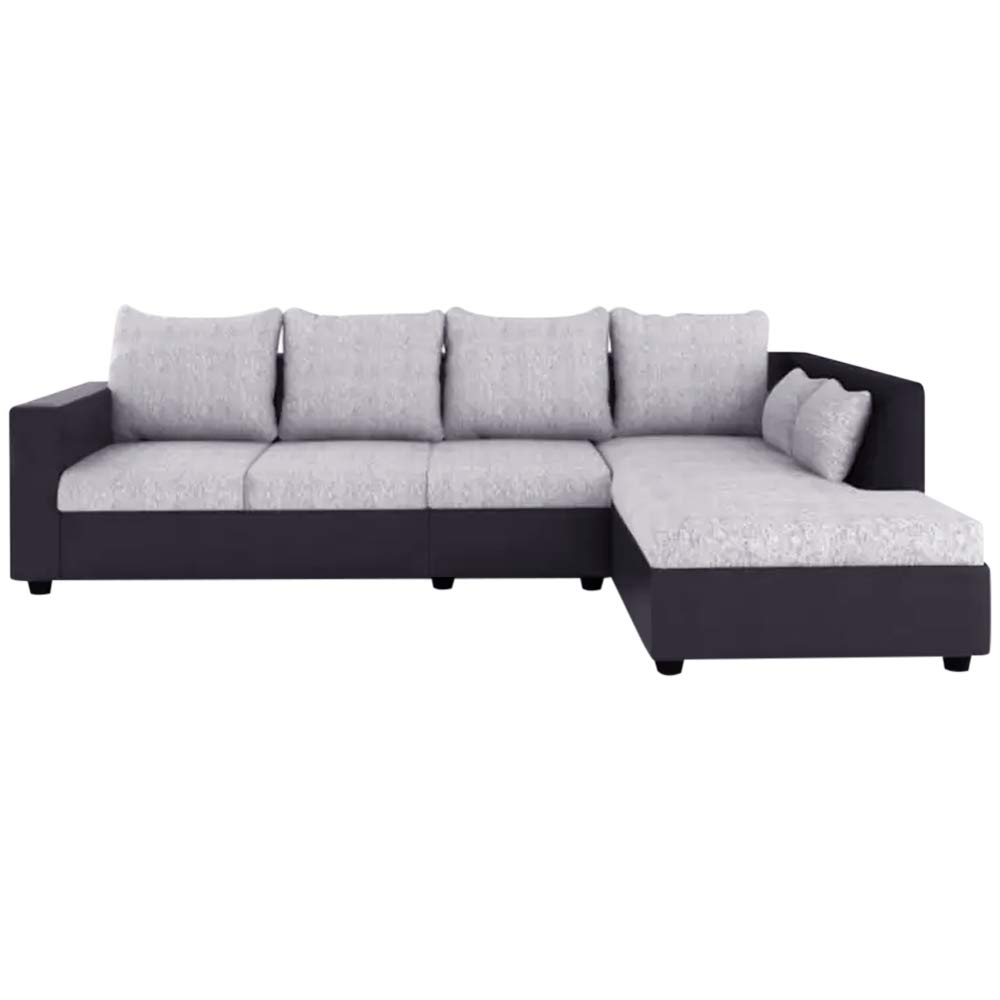 Alotab L Shape Sofa Set with Polyester Fabric & Premium Leatherette (Grey - Black)