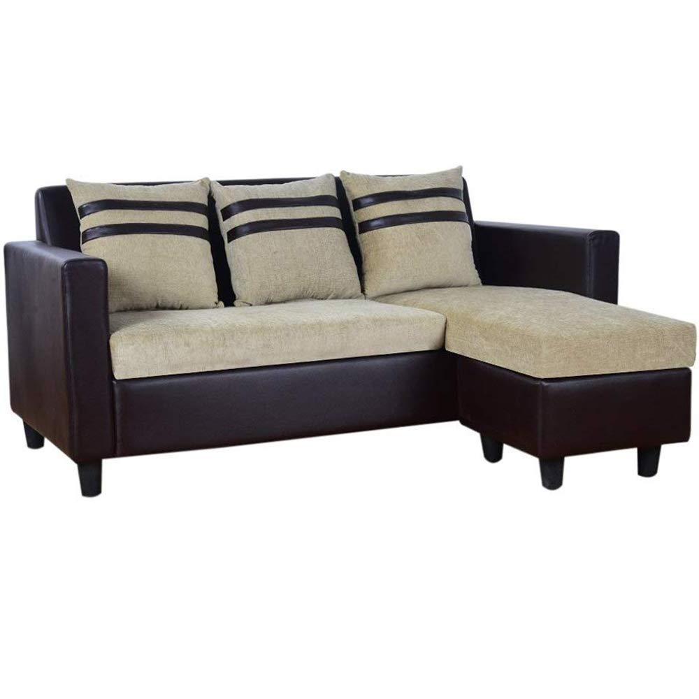 Solid wood L-Shaped Reversible Sofa for Living Room (Beige-Brown)