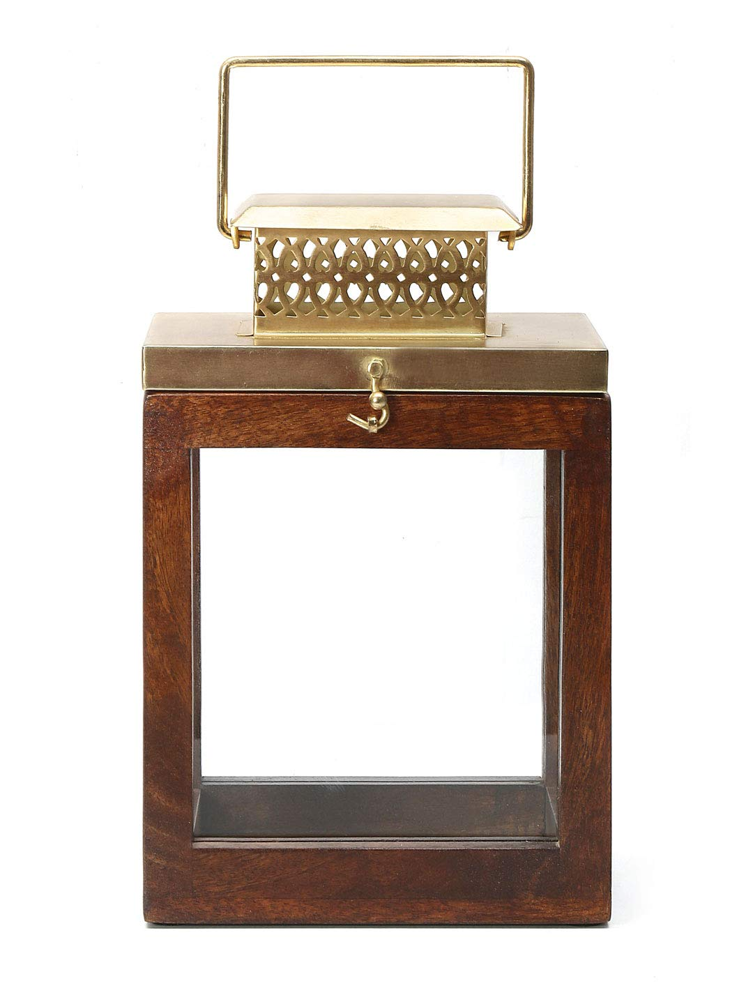 Sheesham Wooden Square Lantern, Golden & Brown