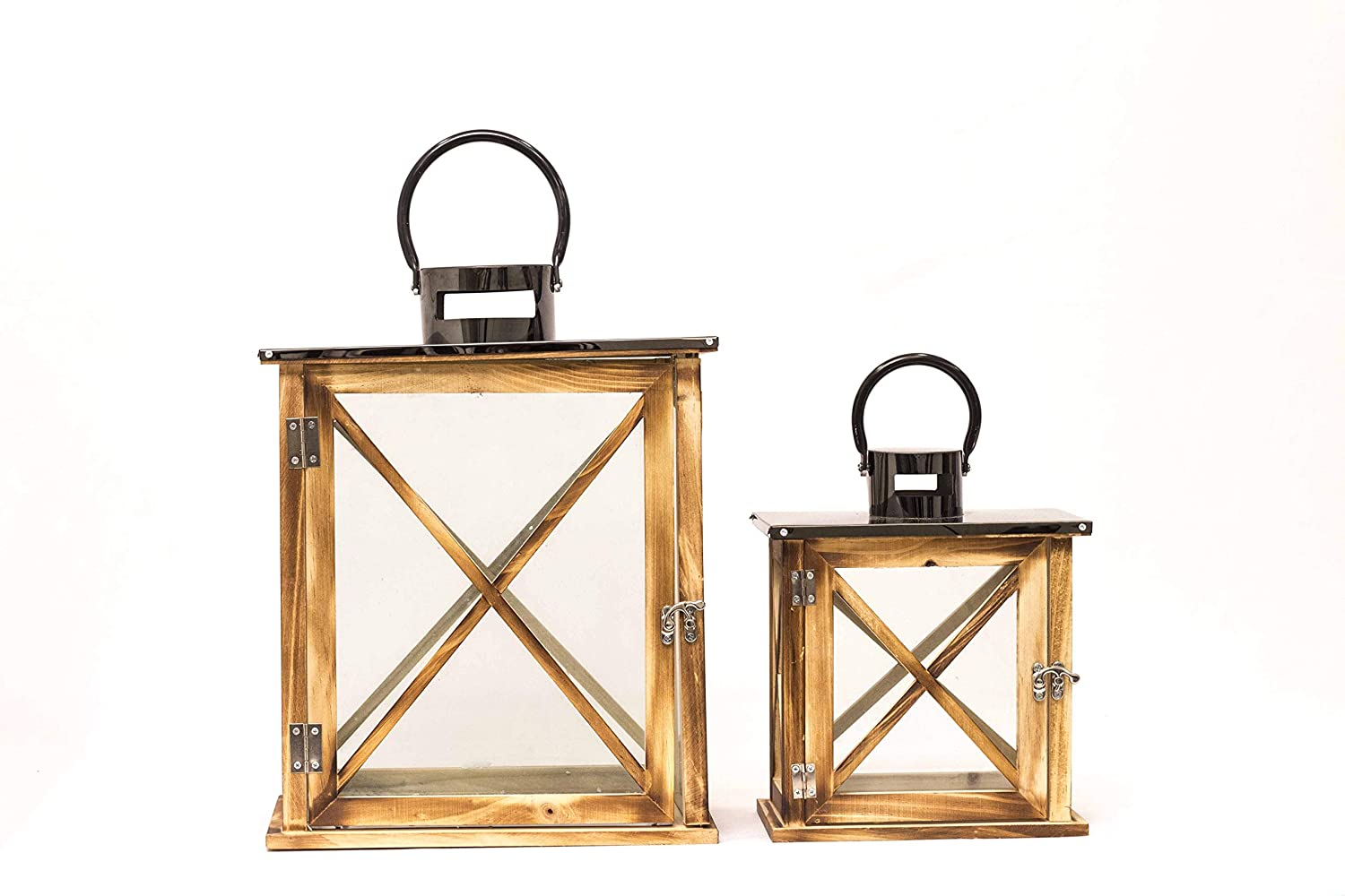 Polim Wooden Frame with Glass Candle Lantern for Home Decoration/Party Decor and Hanging Candle Lantern