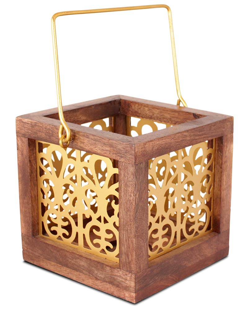 Yogni Wooden Metal Hanging Lantern , lantern light