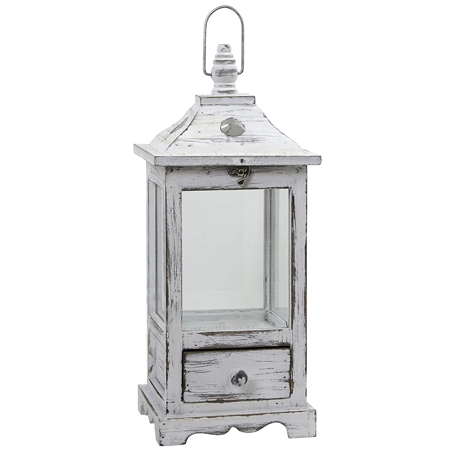 Mango Wooden Lantern with Drawer,White