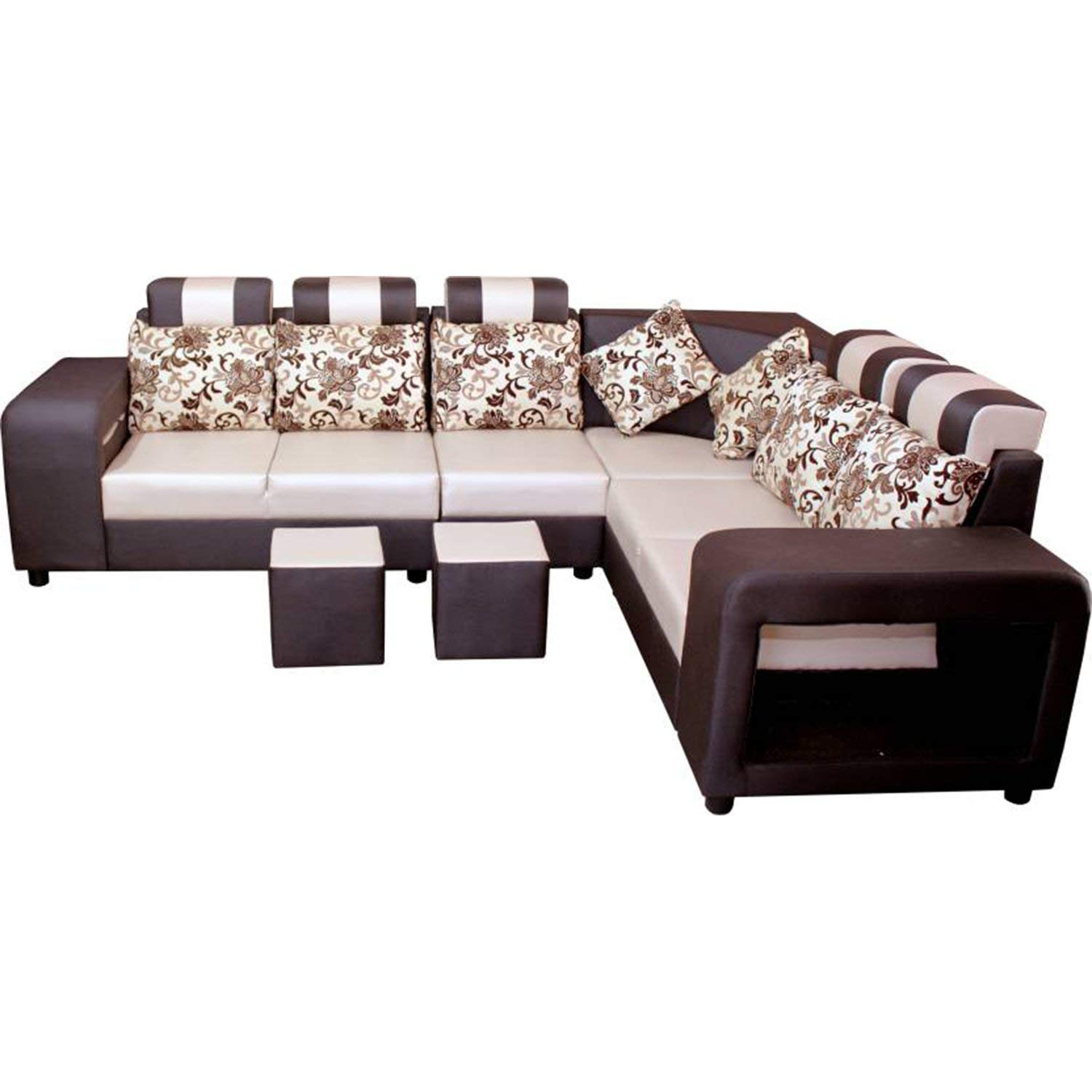 Maktur l shape sofa designs latest  6 Seater L Shape Sectional Sofa Set with Puffy Dark Brown