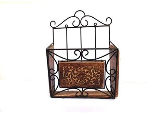 Pisnor wrought iron Magazine Newspaper Stand,Holder Rack,for Home and Office Utility,Made of Wrought Iron and Wooden,Handcrafted (Black and Brown)