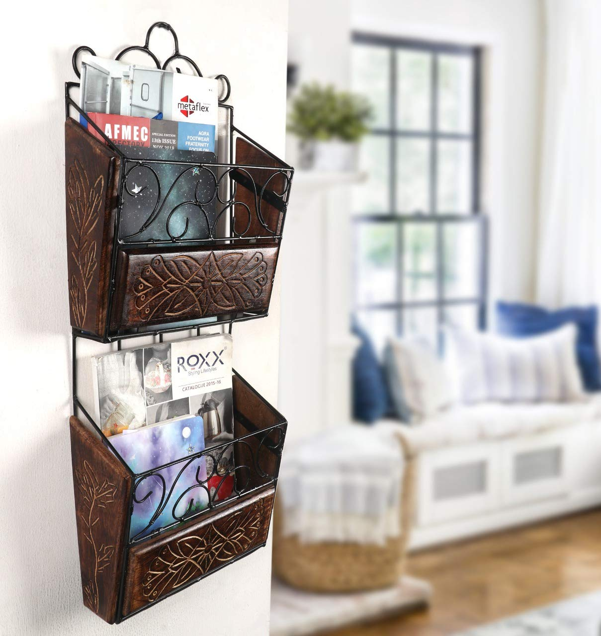craft a to z Wrought and Cast Iron Wooden & Iron Magazine Holder with Handcarving
