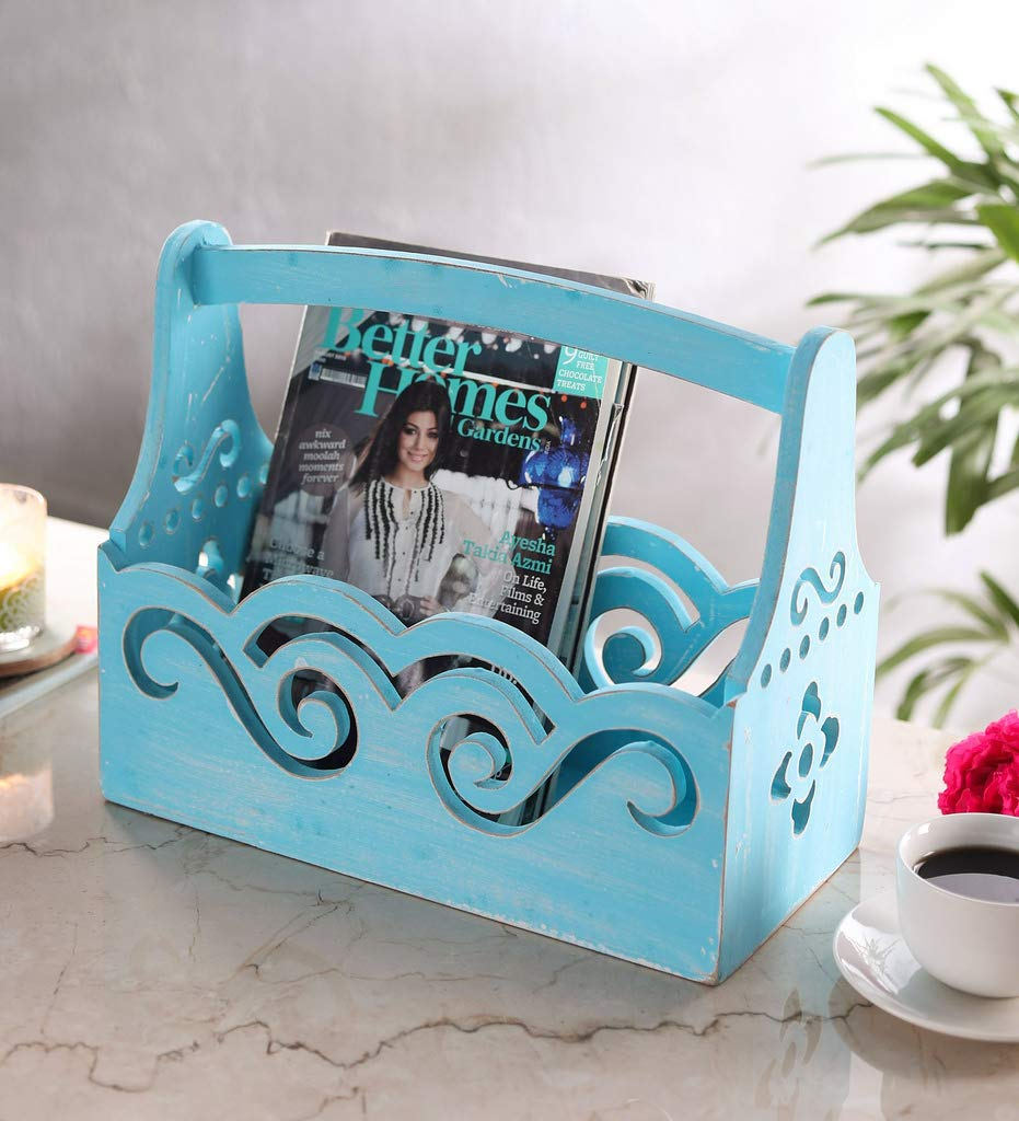 Vinmi Wooden Newspaper, Book and Magazine Holder, 38 x17.5x30 cm (sky Blue)