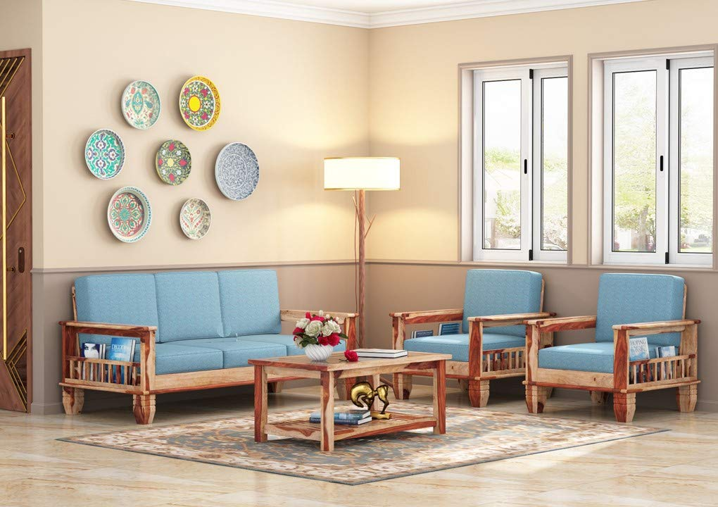 Naina sofa Sheesham Wood 3+1+1 Seater Sofa Set for Living Room  Natural Finish Blue Cushion