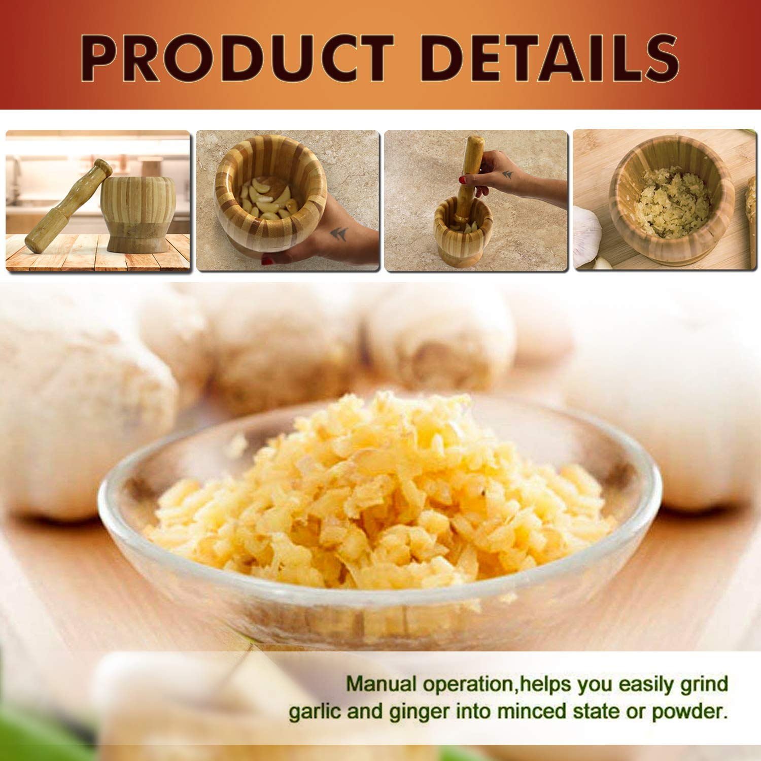 Mydeji  Mortar Pestle Set/Imam Dasta/Kharal/Okhli Masher Grinder Garlic Ginger Spices Coffee Beans Herb Medicine Grinding Bowl with Crusher
