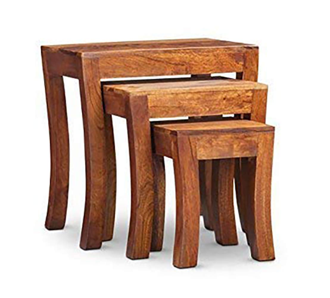 Aloobe  Sheesham Wood Honey Finish Nesting Table Stool -Set of 3 Stools