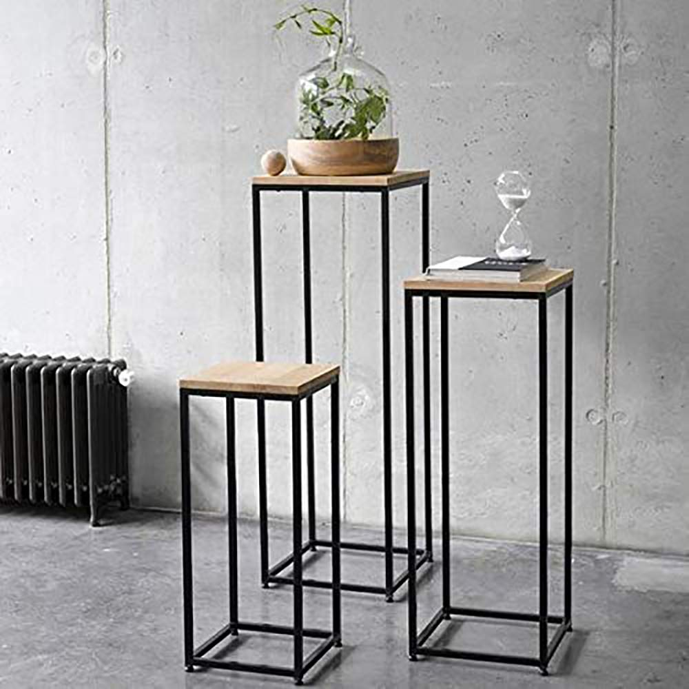 Kollgye Metal Frame Solid Sheesham Wood Top Nesting Table Decoration for Home Set of 3 Stools (Black&Brown)