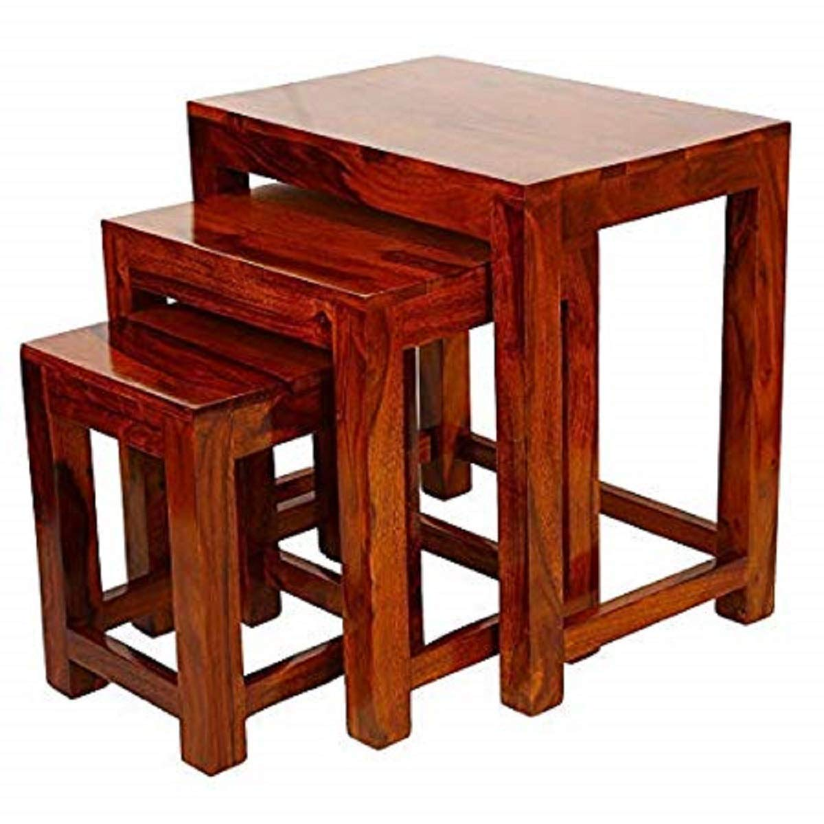 Zoby NEST TABLE SET OF THREE PLAIN TEAK Nature Finishing Height 45 cm x Width 30 cm x Length 45 cm