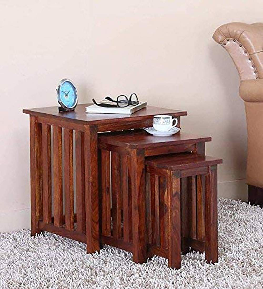 Ribnic  Nesting Bedside Table Set of 3 Stools for Living Room (Honey Finish)