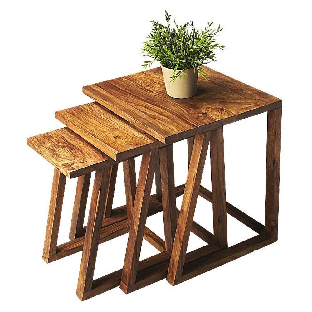 Nordim Wooden Set of 3 Nesting Tables (Natural Finish)