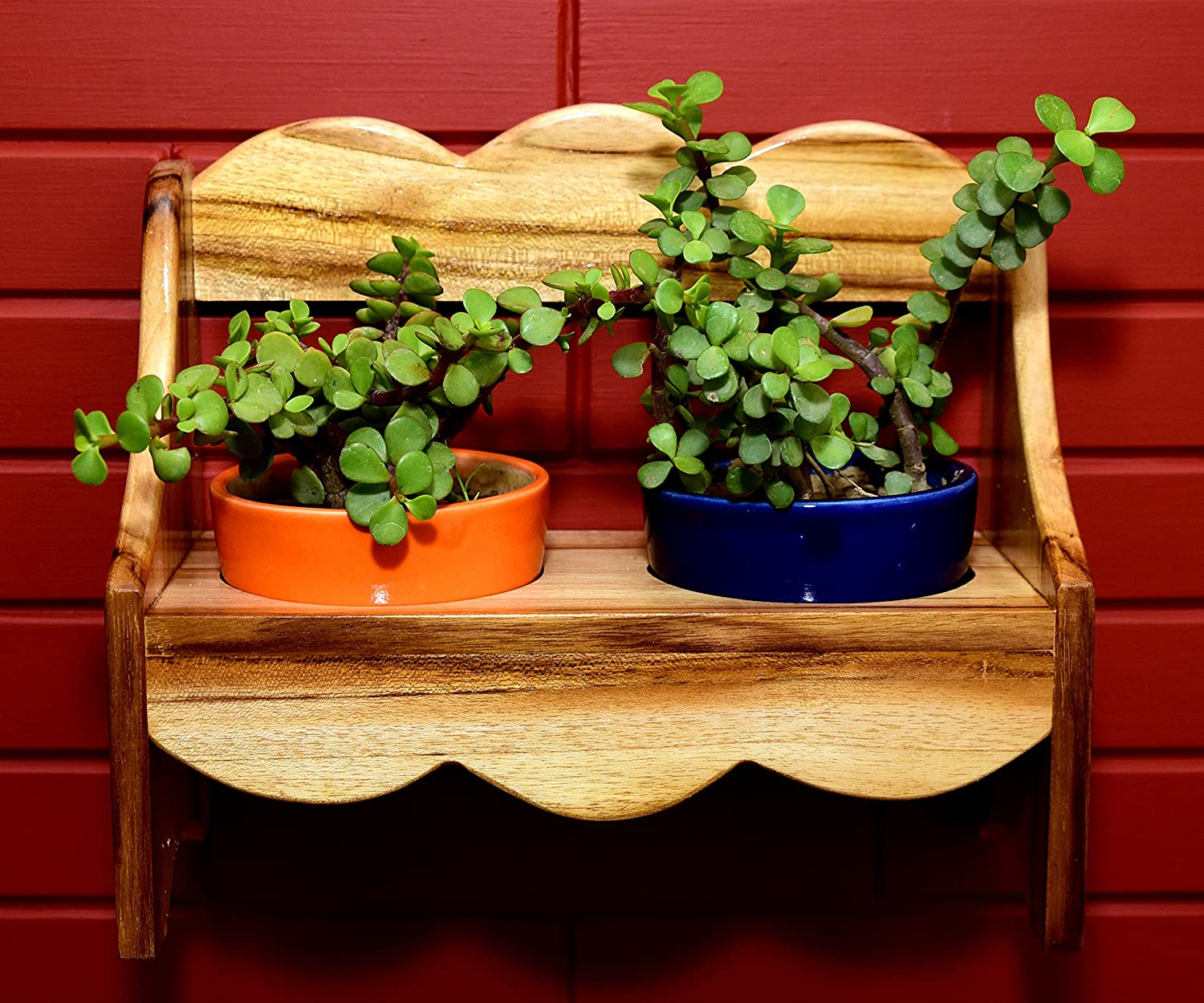 Noozpic Wooden Bench Planter with Ceramic Pots