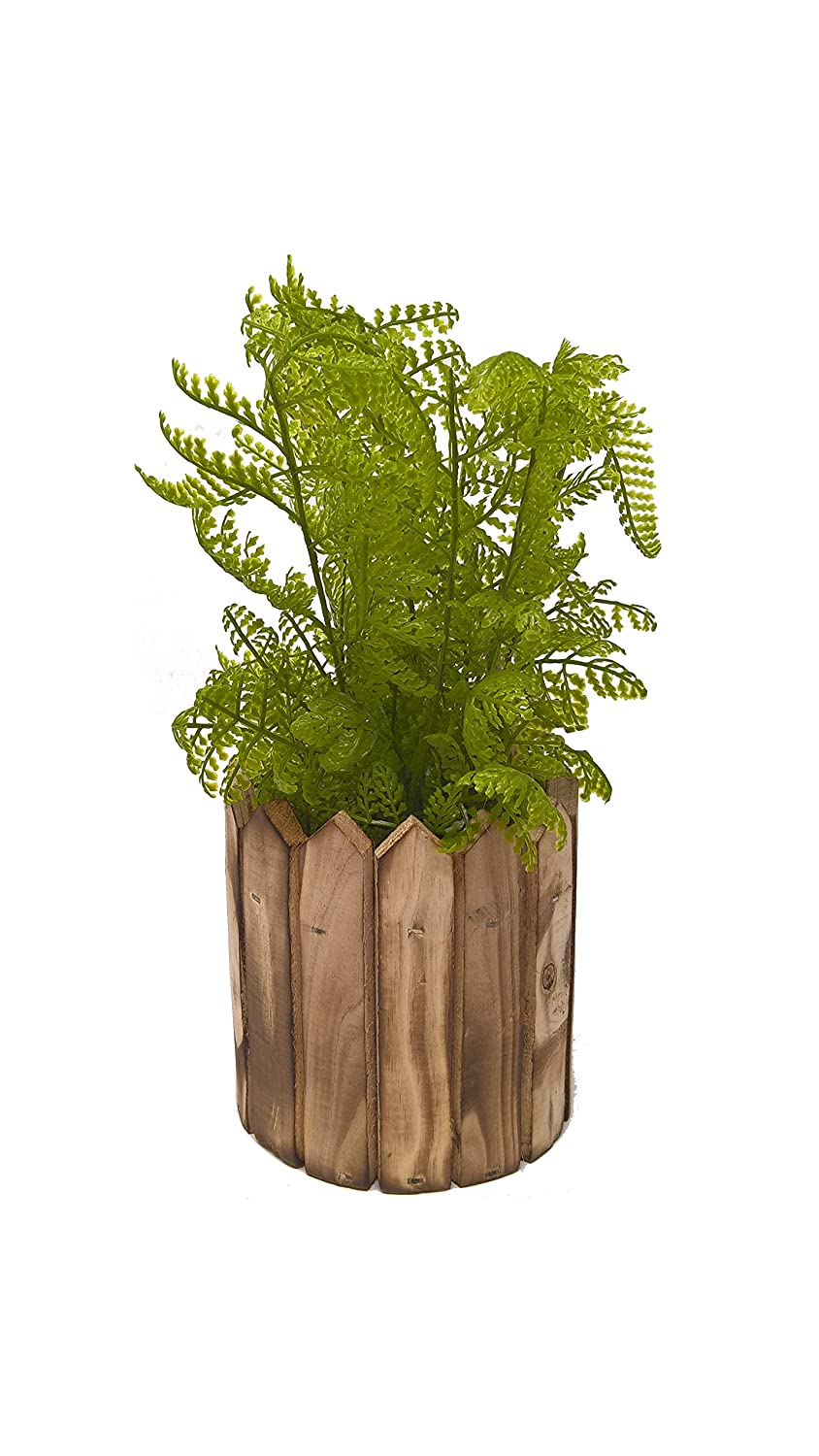 Rolmie Wooden Hanging Pot Wooden Planter with Artificial Fern