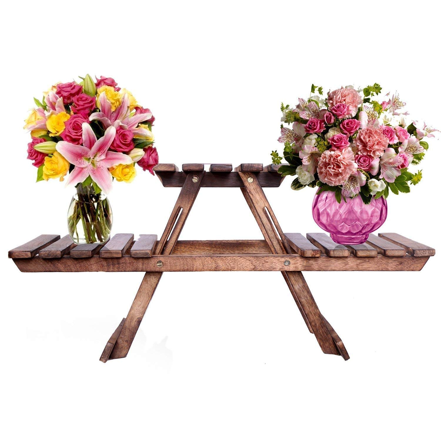 Hogal Planter Stand Table/Wooden Stool/Flower Pot Stand, Standard Size, Brown Easy to Handle