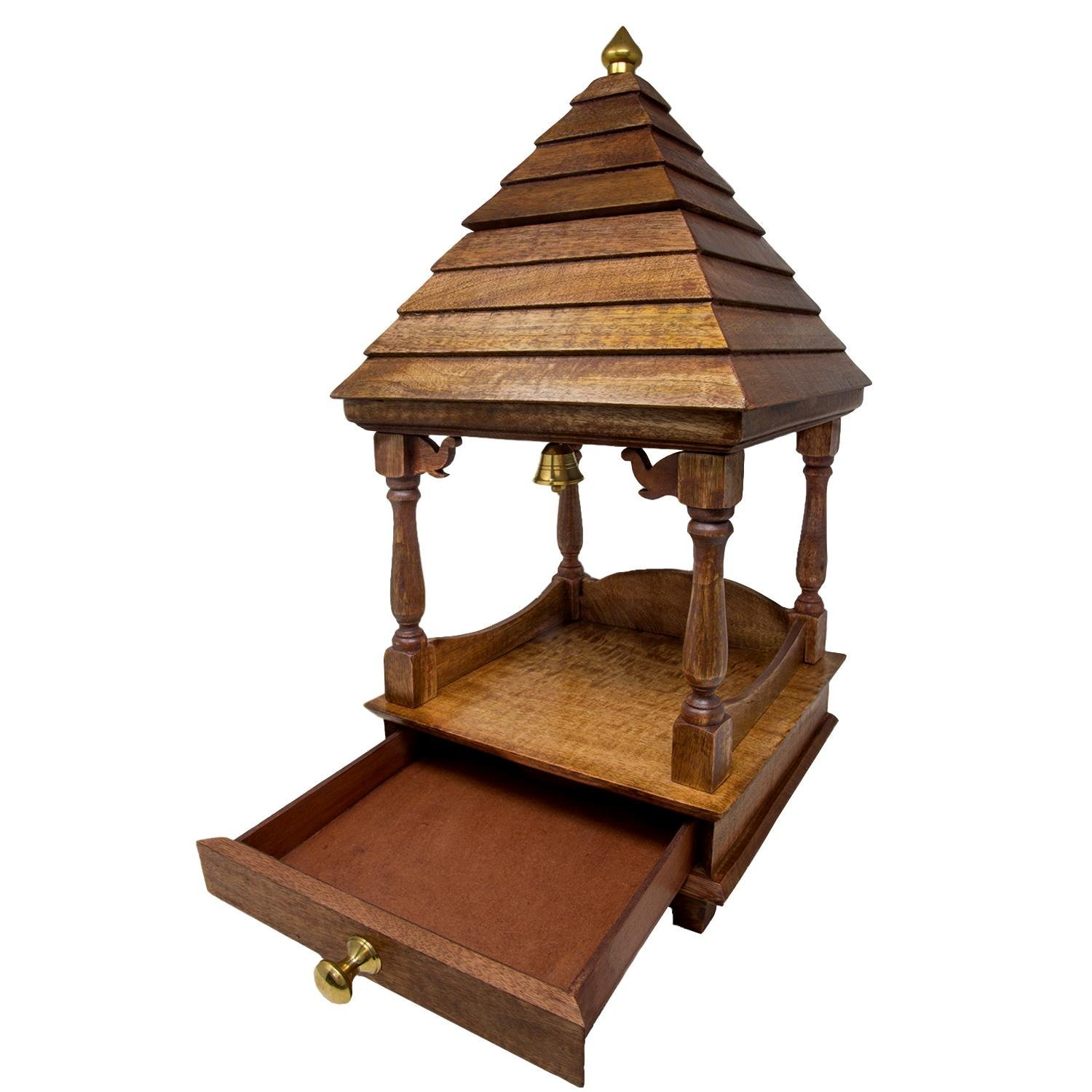 Floomre Wood Handcrafted Temple (Brown_20 Inch X 10 Inch X 10 Inch)