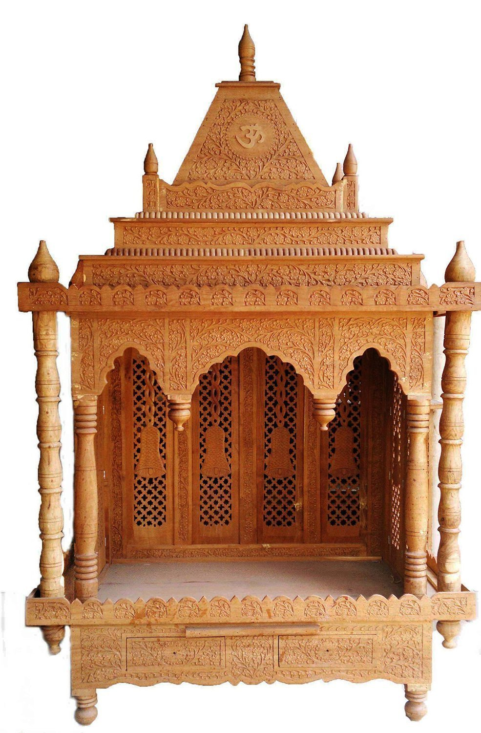 Zilbol Wooden Large Size Pooja Temple Mantap with Front Open Floor Standing Lighting Provision for Home