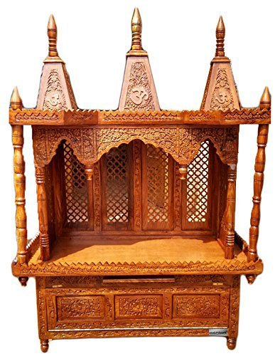 Mzkov Wood Temple/Prayer Unit/Pooja Temple/Pooja Cabinet/Large Temple/Wood Mandir/Mandir for Home: 3 Domes -Bottom Cabinet