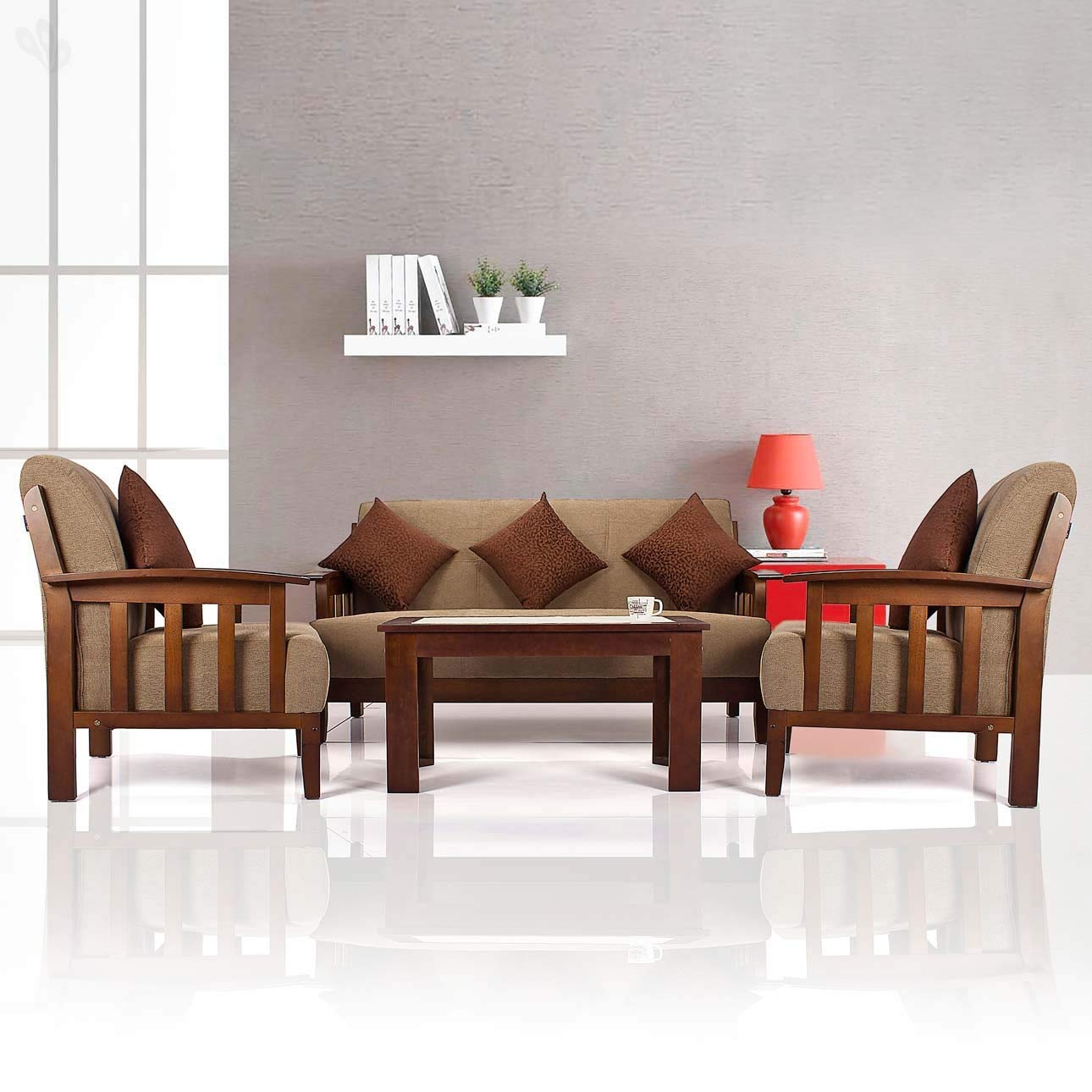 Fuzpol Sheesham Wood 3+1+1 Seater Sofa Set with Cushion for Living Room
