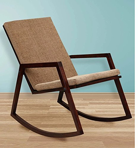 Mivlaiy  Sheesham Wood Rocking Chair for Living Room, with Brown Cushions