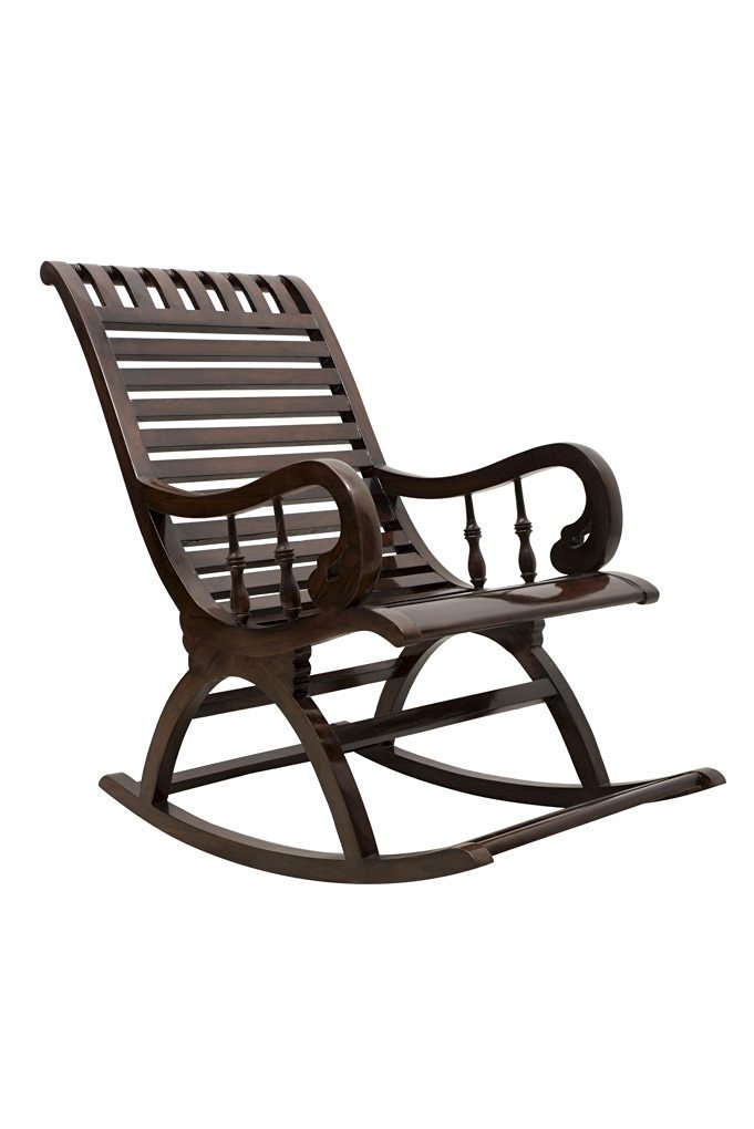 Ralizi Wooden Rocking Chair (Brown, 43 X 24 X 37 Inch)