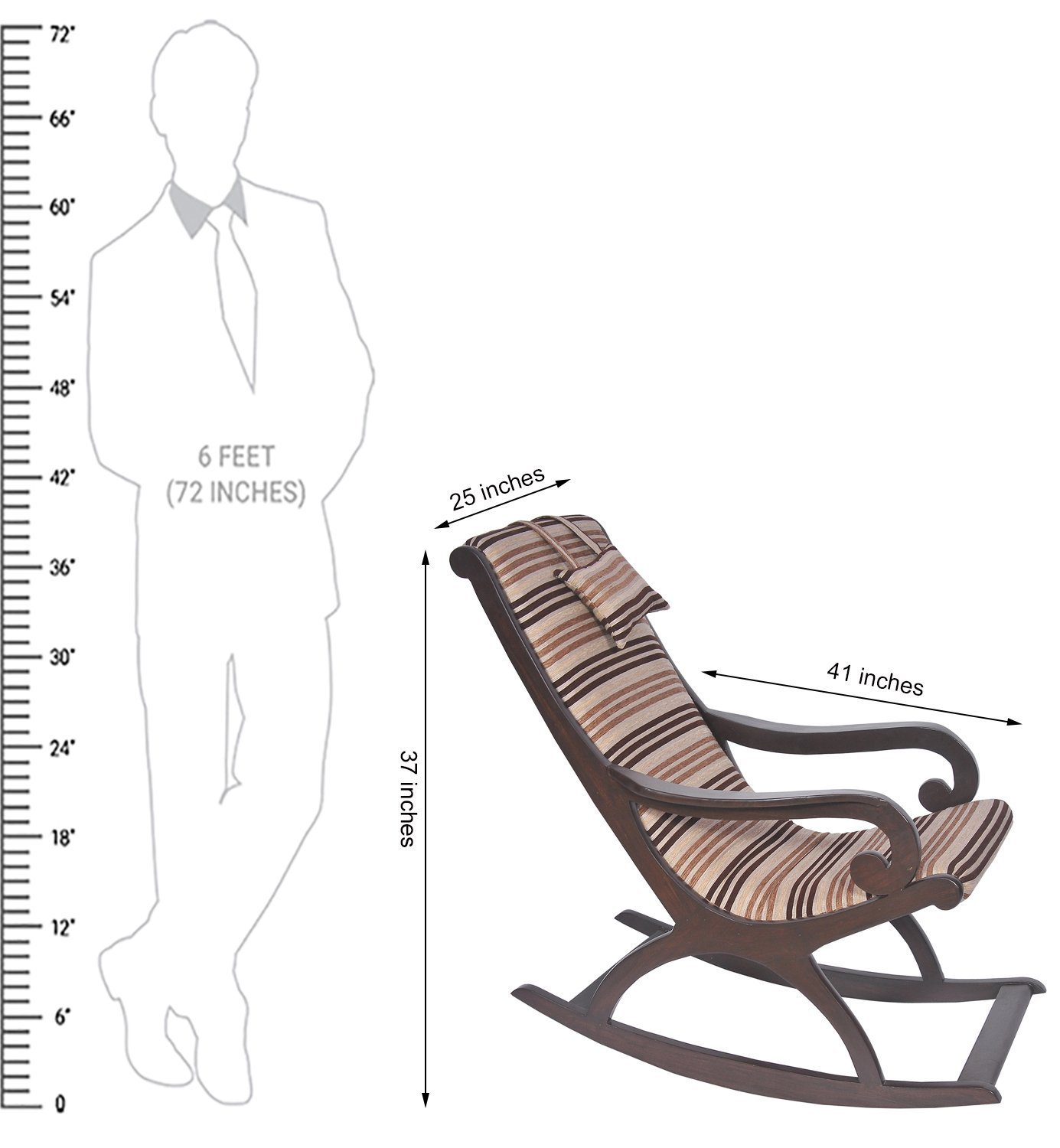 Aoskit Wooden Royal Rocking Chair Wood Rocking Chair Living Room Home Garden Lounge Size Length (41 inches), Width (25 inches), Height (37 inches)