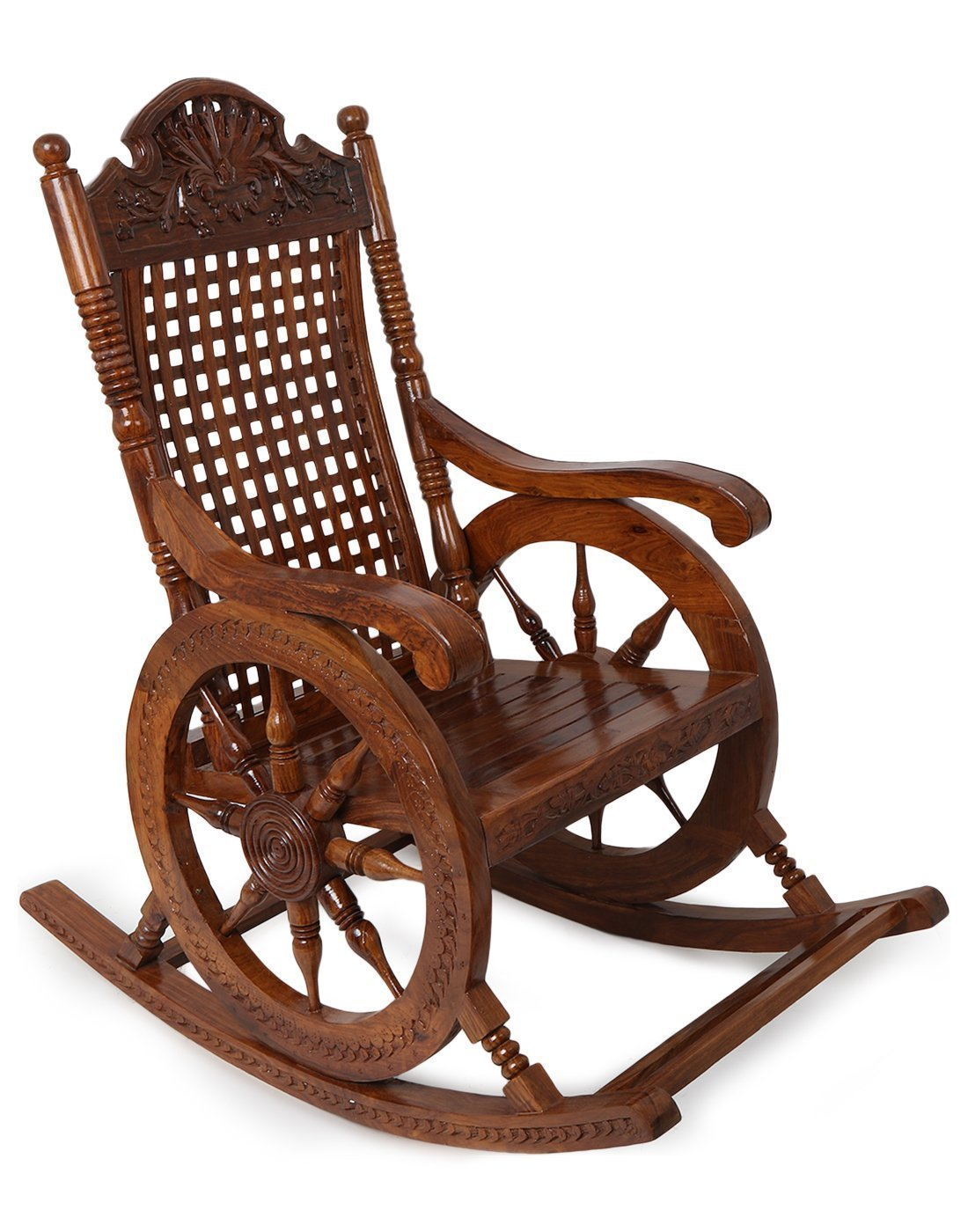 craft a to z Sheesham Wood Rocking Chair for Living Room/Garden - Natural Rosewood Finishing