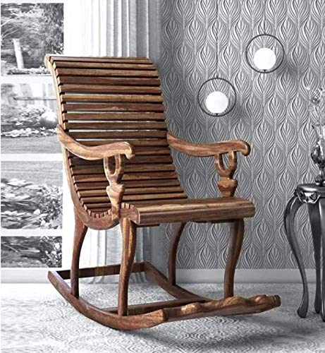 Dekey Wooden Rocking Chair for Adults for Home  Chairs for Living Room  Sheesham Wood, Provincial Teak
