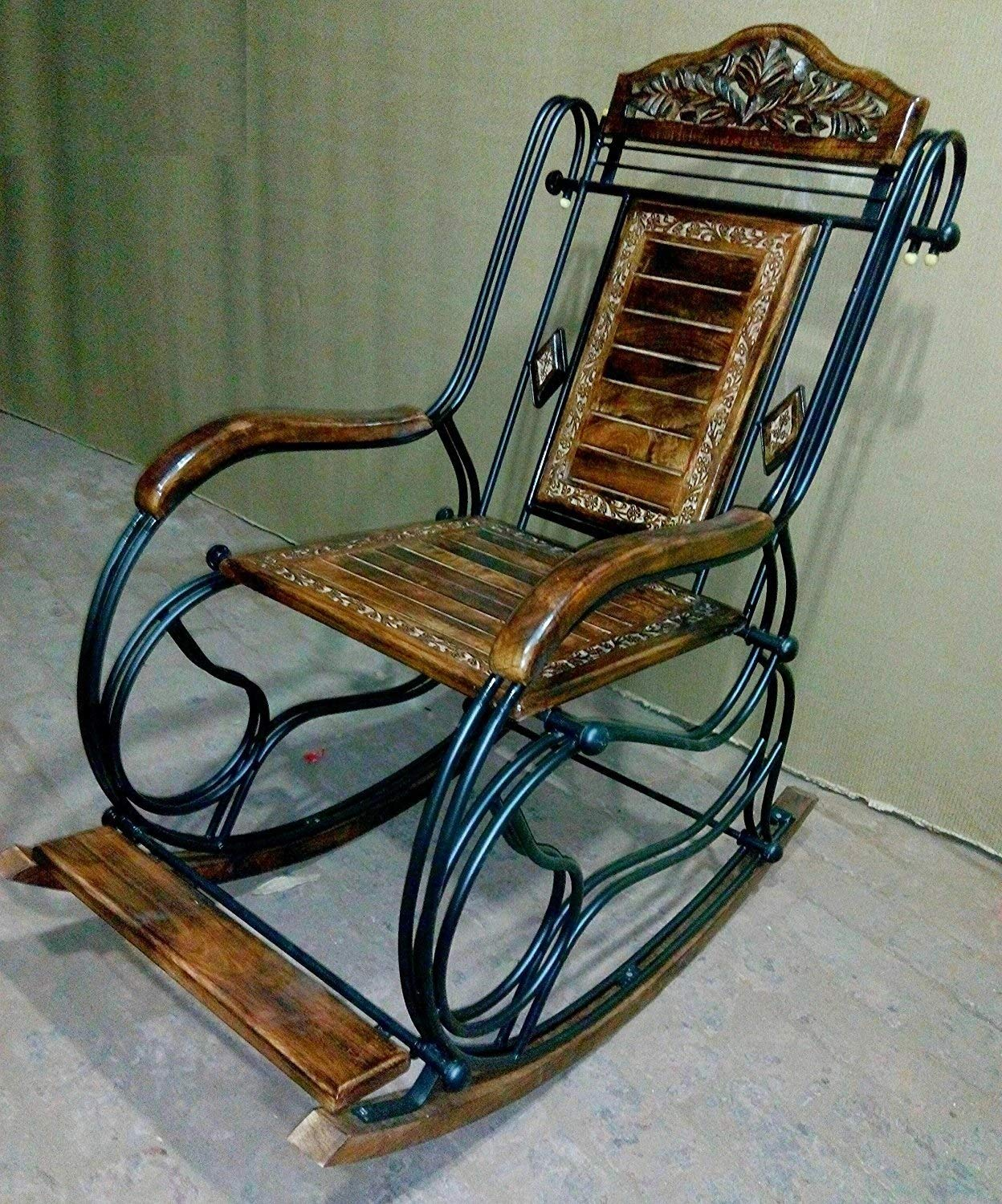 Margot Wooden & Iron Rocking Chair for Grand Parents Black Rocking Chairs Adult Patio Carved Vintage Outdoor Indoor