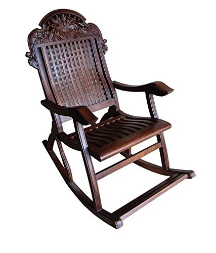 Ortamy  Wood Rocking Chair Wooden Handicrafts Rocking Chair Wood Easy Aaram Chairs Rocking Chair Relaxing for Living Room Home Decor Garden Lounge