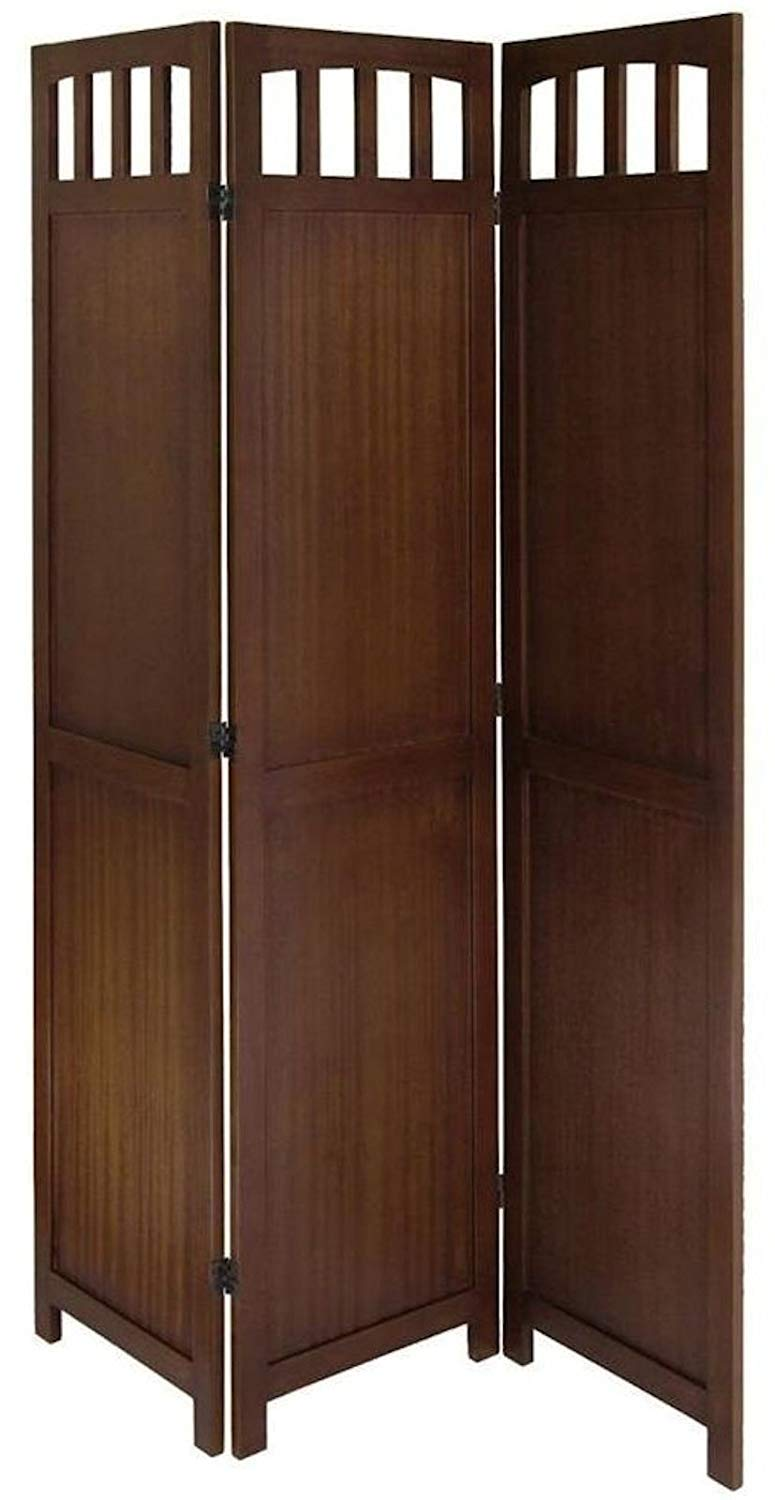 primil Wooden 3 Panel Room Partition Screen Room Divider (Brown)