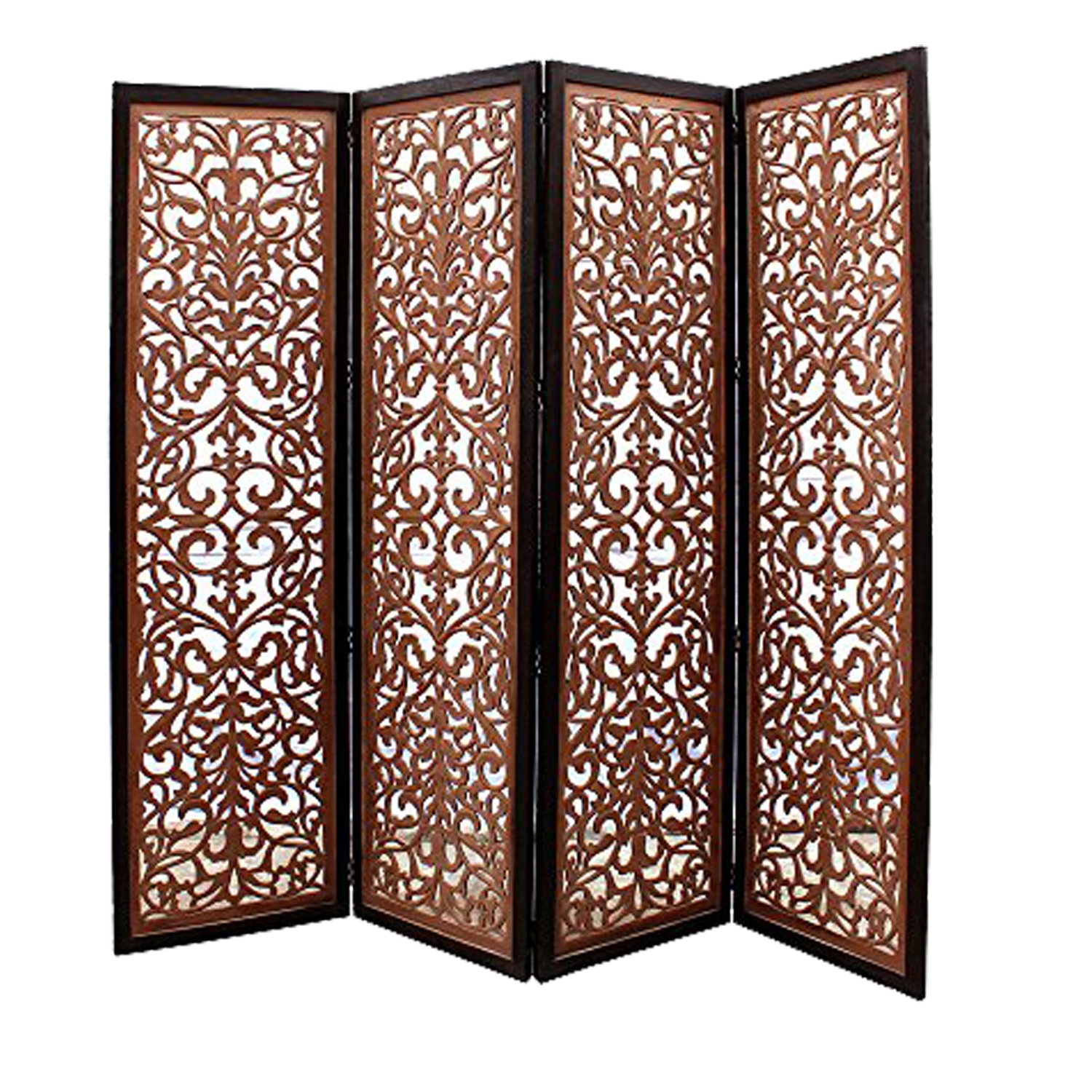 Centio Wooden  Handcrafted Wooden Room Divider/Screen Separator 4 Panel