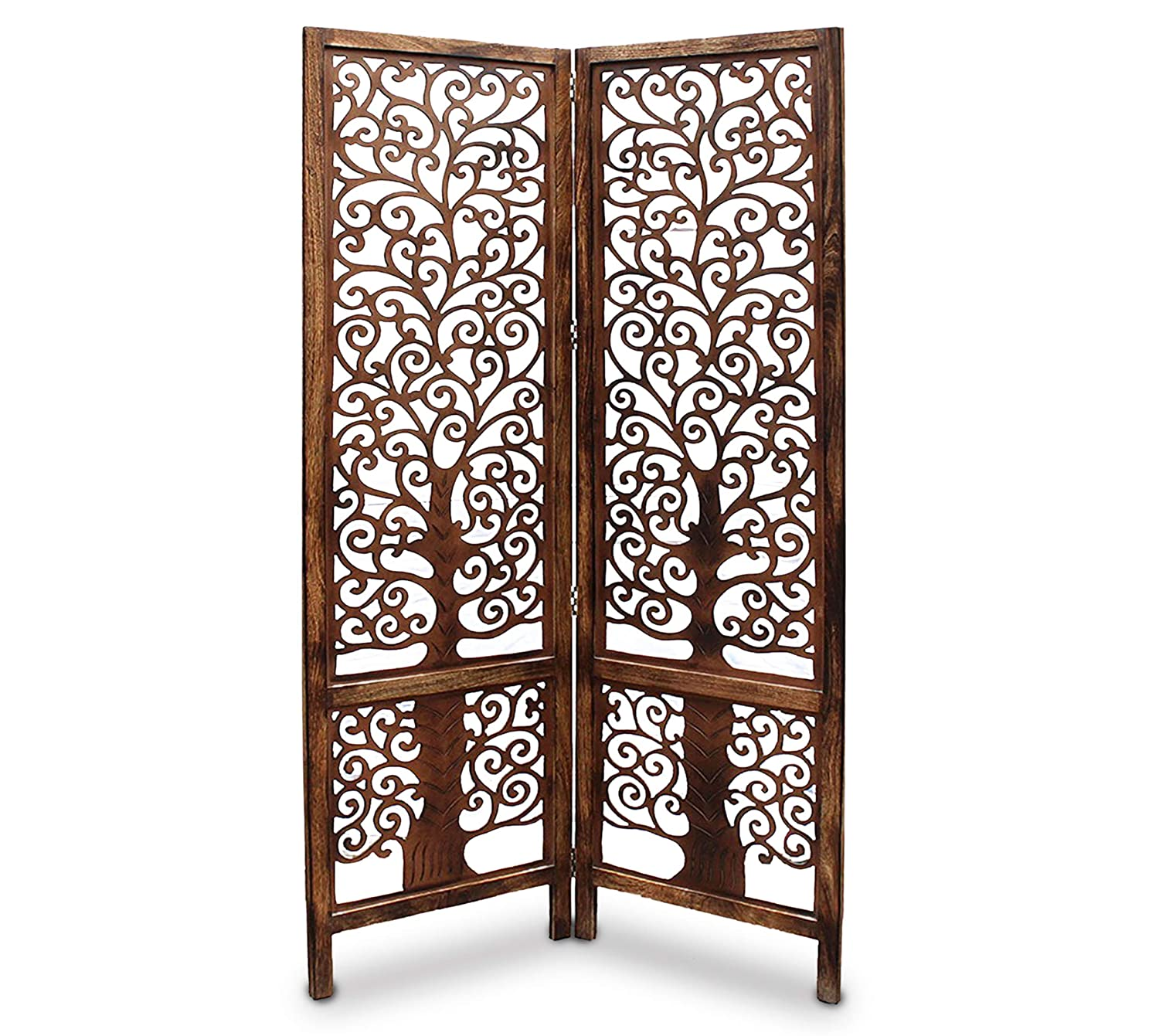 Pacyu Wooden 2 Panel Brown Wooden Room Partition/Divider
