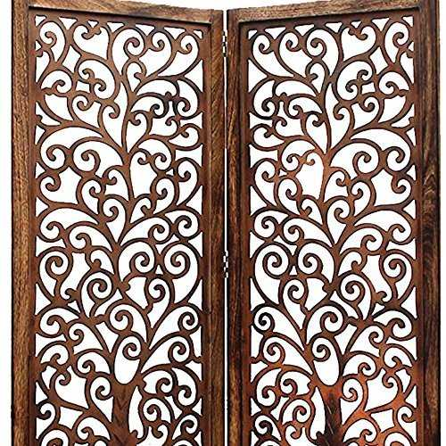 Pacyu Mango Wood Screen Partition Divider in(6)  Panel Jali Tree Style Decor Partition Divider for home/Kitchen/office/Bedroom (Walnut)120 x 01 x 72 inches