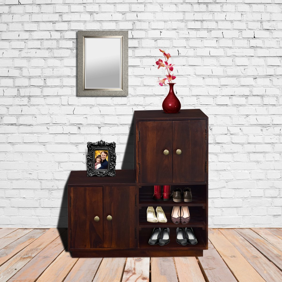 Zolmil Large Shoe Rack with Seatingshoe racks and cabinet	 in Mahogany Finish