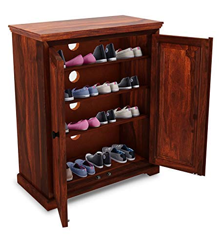 Zelvim Shoe Rack for Home hoes Cabinet with Shelf Storage  Honey Oak Finish