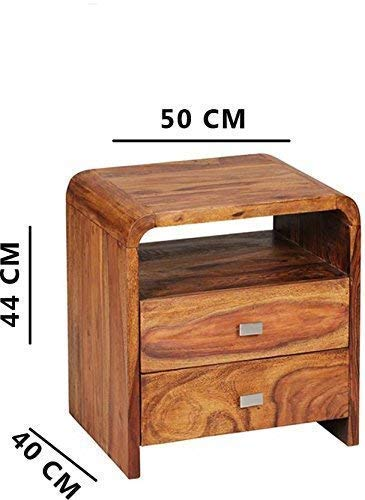 Anisar  Bedside Table for Bedroom Wooden Side End Table 2 Drawers Storage  Brown Finish