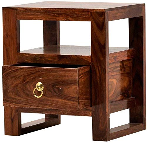 Vipte Side Table ,Bedside End Table with Drawer for Living Room  Teak Finish Wood Type :- Sheesham (Solid Wood)
