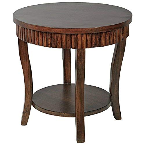 Sikmi Side Table Round Teak(Brown) Length (20 Inches) Width (20 Inches) Height (24 Inches)