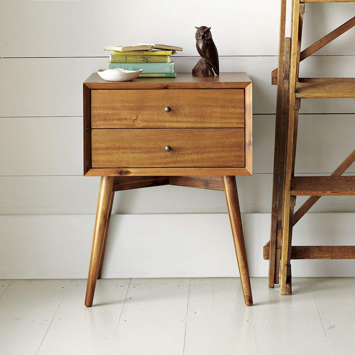 Laknot Wooden Bedside Table for Bedroom  2 Drawers Storage  Natural Finish